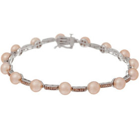 """""""As Is"""" Honora Cultured Pearl and Diamond 8"""" Brace"""