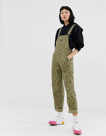 Obey relaxed overalls in animal print