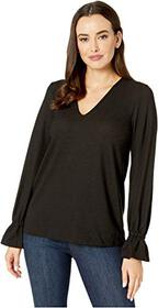MICHAEL Michael Kors V-Neck Ruffle Sleeve Top