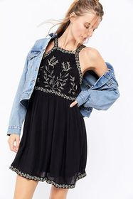 UO Westerly Embroidered High Neck Mini Dress