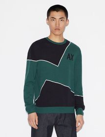 Armani TWO-TONED PULLOVER WITH LOGO AND CONTRAST D