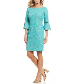 Jessica Howard Petite Size Lace Bell Sleeve Sheath