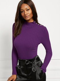 Jeweled Button Mock-Neck Sweater - New York & Comp