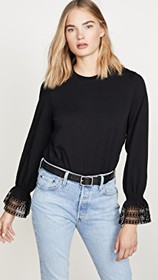 See by Chloe Long Sleeve Lace Detail Tee