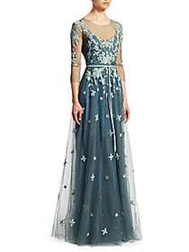 Marchesa Three-Quarter-Sleeve Beaded Tulle Gown BL