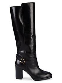 Tod's Gomma Block-Heel Leather Knee-High Boots BLA
