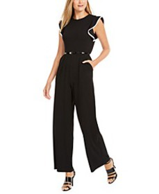 Tipped Ruffle-Shoulder Jumpsuit