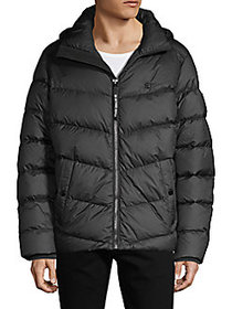 G-Star RAW Quilted Puffer Hooded Jacket BLACK
