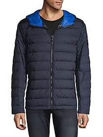 Michael Kors Hooded Zip-Front Puffer Jacket MIDNIG