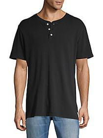7 For All Mankind Short-Sleeve Cotton Henley BLACK