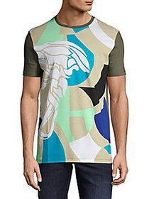 Versace Collection Printed Cotton Tee BEIGE MULTI