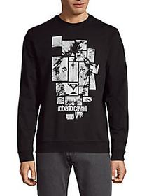 Roberto Cavalli Graphic Cotton Sweatshirt NERO