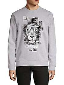 Roberto Cavalli Graphic Cotton Sweatshirt GRIGIO M
