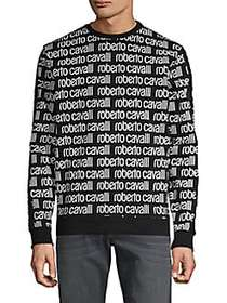 Roberto Cavalli Logo Cotton Sweatshirt BLACK