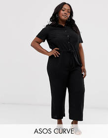 ASOS DESIGN Curve shirt jumpsuit with tie waist