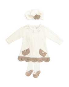 CATHERINE MALANDRINO Newborn Girls Cable Sweater D