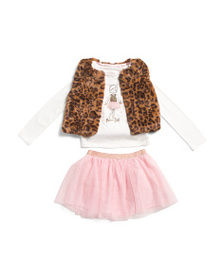 CATHERINE MALANDRINO Girls 3pc Leopard Faux Fur Ve
