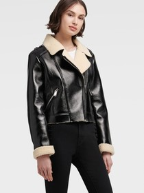 Donna Karan FAUX SHEARLING MOTORCYCLE JACKET