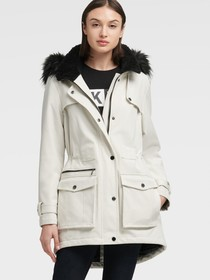 Donna Karan SOFT SHELL PARKA WITH FAUX FUR HOOD