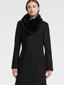 Donna Karan ASYMMETRICAL COAT WITH FAUX FUR COLLAR