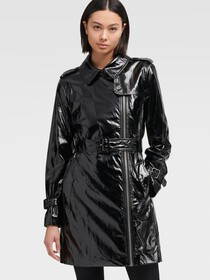 Donna Karan PATENT FAUX LEATHER TRENCH COAT