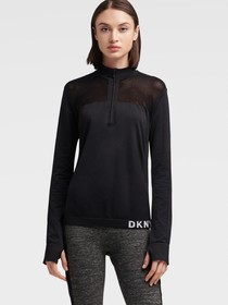 Donna Karan QUARTER-ZIP TOP WITH MESH ACCENT