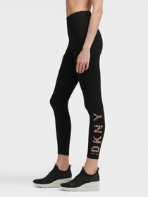 Donna Karan CROPPED PRINTED LOGO LEGGING