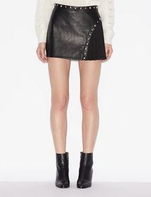 Armani FAUX LEATHER MINISKIRT WITH INSERT AND STUD