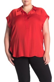 Vince Camuto Rumpled Satin Henley Blouse (Plus Siz