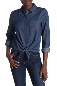Vince Camuto Long Sleeve Denim Tie Blouse