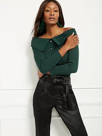 Jeweled-Button Off-The-Shoulder Sweater - New York