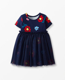 Hanna Andersson Flower Dress In Soft Tulle in Navy