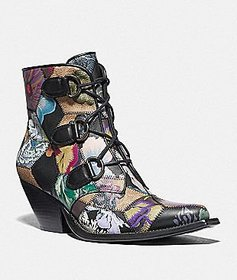 Coach lace up chain bootie with kaffe fassett prin
