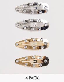 ASOS DESIGN pack of 4 snap clips with bubble edge