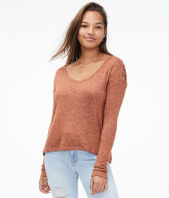 Aeropostale Long Sleeve Lattice Cold-Shoulder Top*