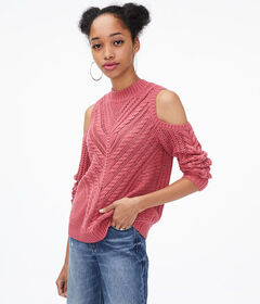 Aeropostale Cable-Knit Cold-Shoulder Sweater