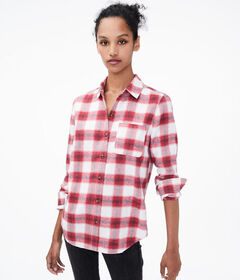 Aeropostale Long Sleeve Plaid Button-Down Shirt