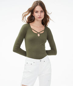 Aeropostale Long Sleeve Seriously Soft Strappy Key