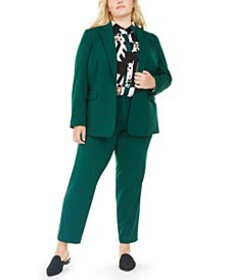 Trendy Plus Size Stretch Blazer, Pants & Printed B