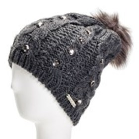 BEBE Womens Bejeweled Knit Pom Pom Hat