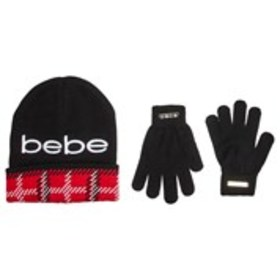 BEBE Womens Embroidered Plaid Cuff Hat & Gloves Se