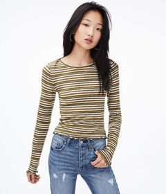 Aeropostale Long Sleeve Striped Shrunken Tee
