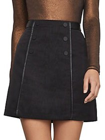 BCBGMAXAZRIA Double-Button A-Line Mini Skirt BLACK