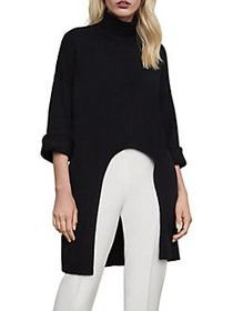 BCBGMAXAZRIA Cutout Cotton-Blend Sweater BLACK