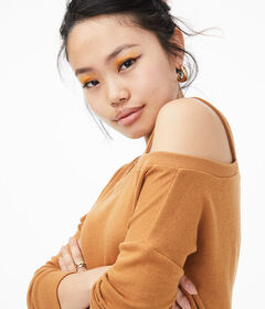 Aeropostale Asymmetrical Cold-Shoulder Sweater***