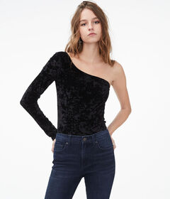 Aeropostale Long Sleeve Velvet One-Shoulder Top