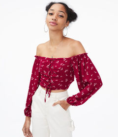 Aeropostale Floral Lace-up Off-The-Shoulder Crop T