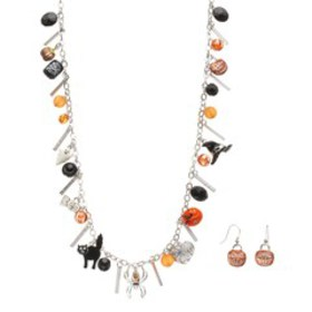 Halloween Charm Long Necklace & 'Trick Or Treat' E