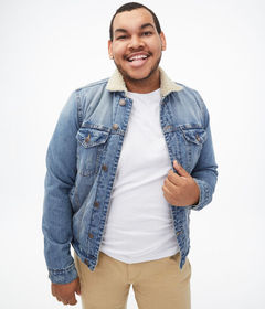 Aeropostale Sherpa-Lined Denim Trucker Jacket