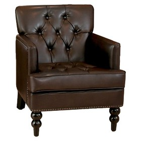 Malone Leather Club Chair - Brown - Christopher Kn